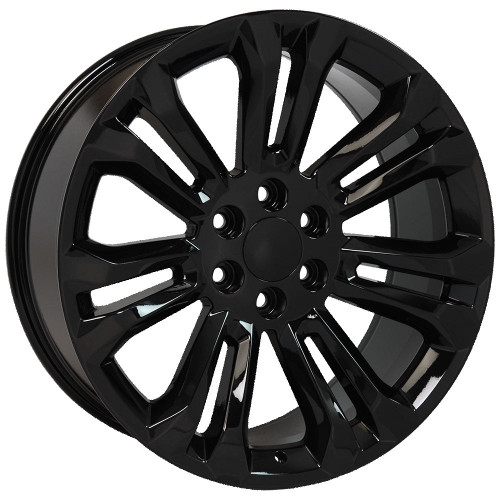 "Gloss Black 22"" New Style Split Spoke Wheels for GMC Sierra, Yukon, Denali - New Set of 4"