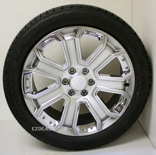 "Hyper Silver 22"" With Chrome Inserts Wheels with Bridgestone Tires for GMC Sierra, Yukon, Denali - New Set of 4"