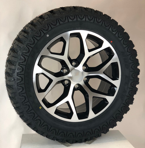 "Black and Machine 20"" Snowflake Wheels with MudClaw M/T 33/12.50/20 Tires for Chevy Silverado, Tahoe, Suburban - New Set of 4"