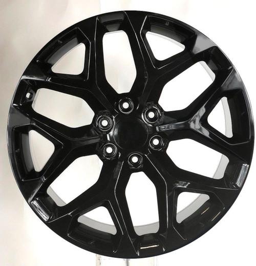 """Gloss Black 22"""" Snowflake Wheels for Chevy Silverado, Tahoe, Suburban - New Set of 4"""