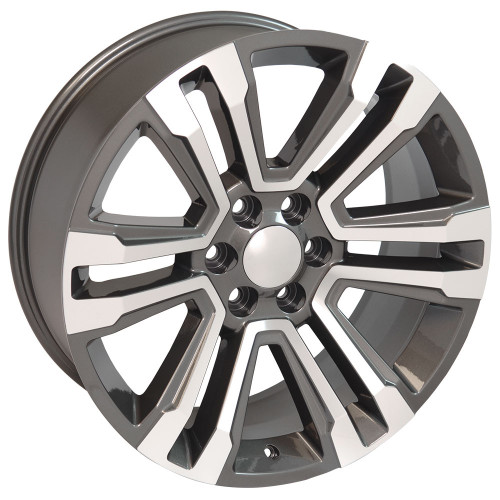 "Hyper Silver and Machine 22"" Denali Style Split Spoke Wheels for GMC Sierra, Yukon, Denali - New Set of 4"