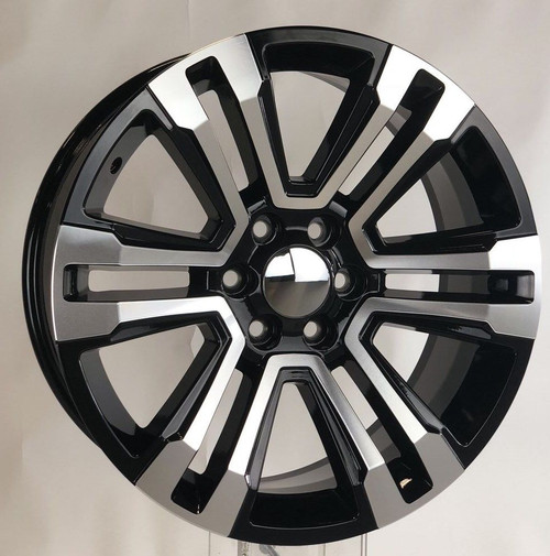 "Black and Machine 22"" Denali Style Split Spoke Wheels for Chevy Silverado, Tahoe, Suburban - New Set of 4"