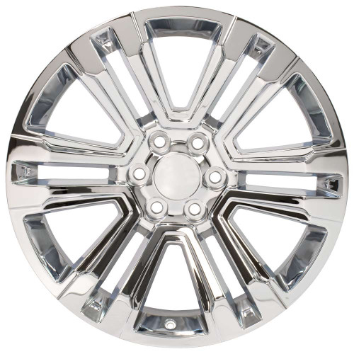 "Chrome 22"" Denali Style Split Spoke Wheels for Chevy Silverado, Tahoe, Suburban - New Set of 4"