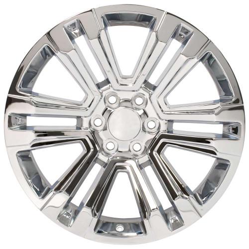 "Chrome 22"" Denali Style Split Spoke Wheels for Chevy Silverado, Tahoe, Suburban - New Set of 4"