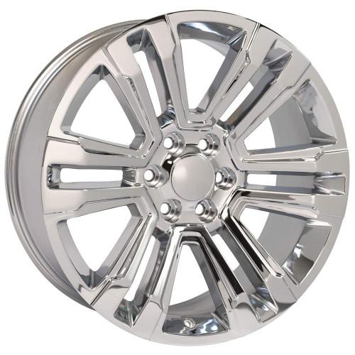 "Chrome 22"" Denali Style Split Spoke Wheels for GMC Sierra, Yukon, Denali - New Set of 4"