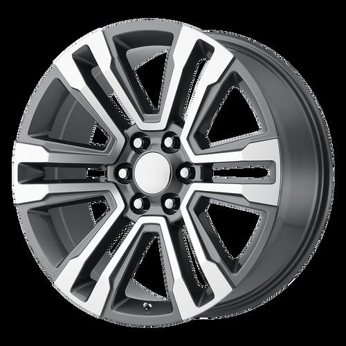 "Gunmetal and Machine 20"" Denali Style Split Spoke Wheels for GMC Sierra, Yukon, Denali - New Set of 4"