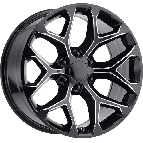 "Gloss Black Milled 22"" Snowflake Wheels for GMC Sierra, Yukon, Denali - New Set of 4"