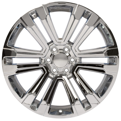 "Chrome 24"" Denali Style Split Spoke Wheels for GMC and Chevy 1500 Trucks and SUVs"