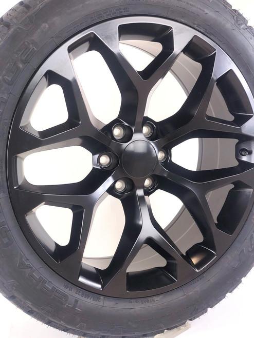 "Satin Matte Black 22"" Snowflake Wheels with Nitto Terra Grappler Tires for GMC Sierra, Yukon, Denali"