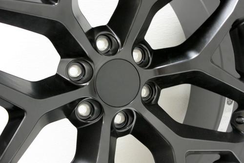"""Satin Matte Black 22"""" Snowflake Wheels with Nitto Terra Grappler Tires for Chevy Silverado, Tahoe, Suburban"""