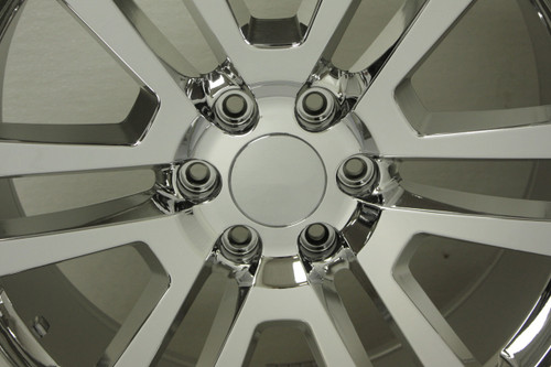 """Chrome 22"""" Split Spoke Wheels with Nitto Terra Grappler Tires for Chevy Silverado, Tahoe, Suburban - New Set of 4"""