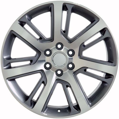 "Gunmetal and Machine 22"" Quarter Split Spoke Wheels for Chevy Silverado, Tahoe, Suburban - New Set of 4"
