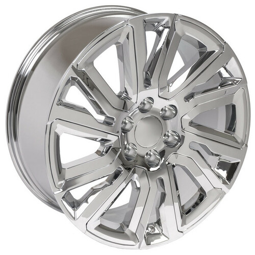 "Chrome 22"" with Angled Chrome Insert Wheels for Chevy Silverado, Tahoe, Suburban"