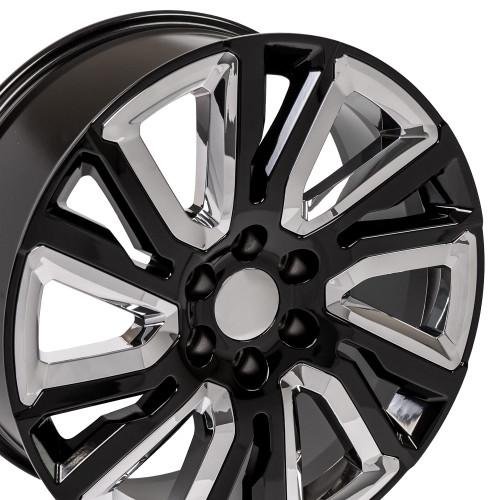 "Gloss Black 22"" with Angled Chrome Insert Wheels for Chevy Silverado, Tahoe, Suburban"