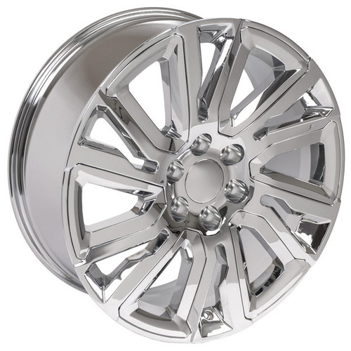 "Chrome 22"" with Angled Chrome Insert Wheels for GMC Sierra, Yukon, Denali - New Set of 4"