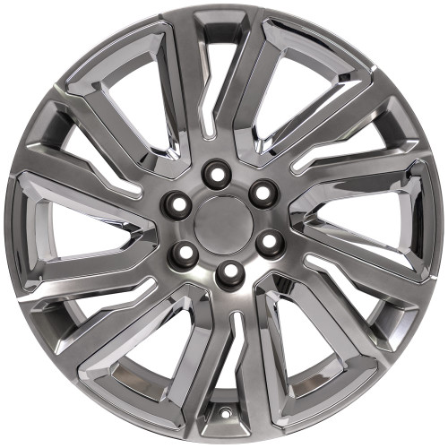 "Hyper Silver 22"" with Angled Chrome Insert Wheels for GMC Sierra, Yukon, Denali - New Set of 4"