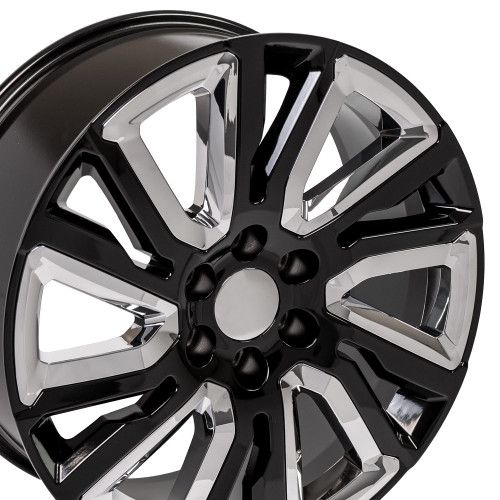 "Gloss Black 22"" with Angled Chrome Insert Wheels for GMC Sierra, Yukon, Denali - New Set of 4"