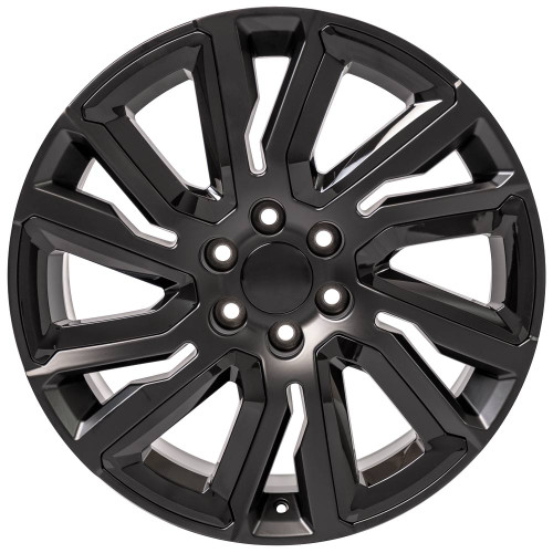 "Satin Black 22"" with Angled Gloss Black Insert Wheels for GMC Sierra, Yukon, Denali - New Set of 4"