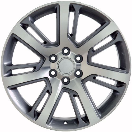 "Gunmetal and Machine 22"" Quarter Split Spoke Wheels for GMC Sierra, Yukon, Denali"