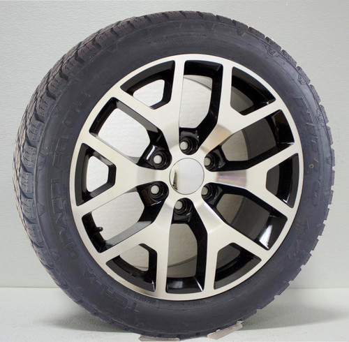 """Black and Machine 22"""" with Honeycomb Wheels with Nitto Terra Grappler Tires for Chevy Silverado, Tahoe, Suburban"""