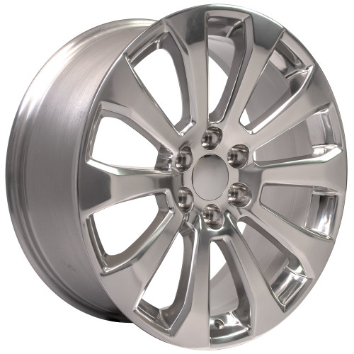 """Polished 22"""" High Country Style Ten Spoke Wheels for Chevy Silverado, Tahoe, Suburban - New Set of 4"""