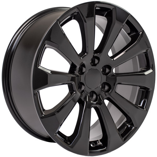 "Satin Black 22"" High Country Style Ten Spoke Wheels for GMC Sierra, Yukon, Denali"