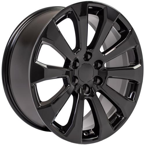 """Gloss Black 22"""" Ten Spoke Wheels for GMC Sierra, Yukon, Denali"""
