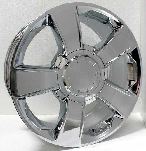 "Chrome 20"" Five Spoke Big Cap Wheels for Chevy Silverado, Tahoe, Suburban - New Set of 4"