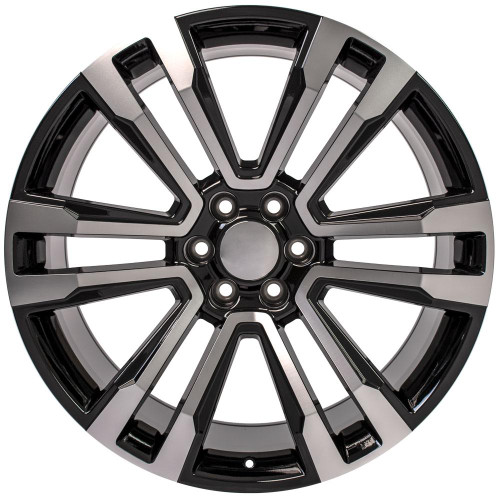 "Black and Machine 24"" Denali Style Split Spoke Wheels for GMC and Chevy 1500 Trucks and SUVs"