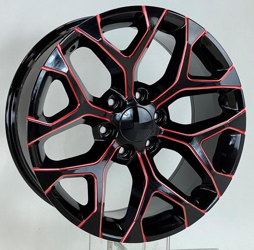 "Red Milled Edge Gloss Black 20"" Snowflake Wheels for Chevy Silverado, Tahoe, Suburban - New Set of 4"