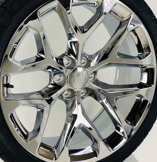 """Chrome 24"""" Snowflake Wheels with 295/35R24 Tires for Chevy and GMC Trucks and SUVs"""
