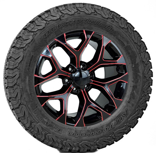"""Gloss Black 20"""" Red Milled Edge Snowflake Wheels with BFG KO2 A/T Tires for Chevy Silverado, Tahoe, Suburban - New Set of 4"""