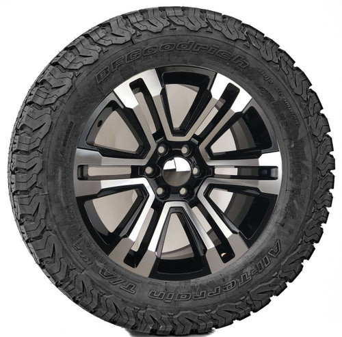 "Black and Machine 20"" Denali Style Split Spoke Wheels with BFG KO2 A/T Tires for Chevy Silverado, Tahoe, Suburban - New Set of 4"