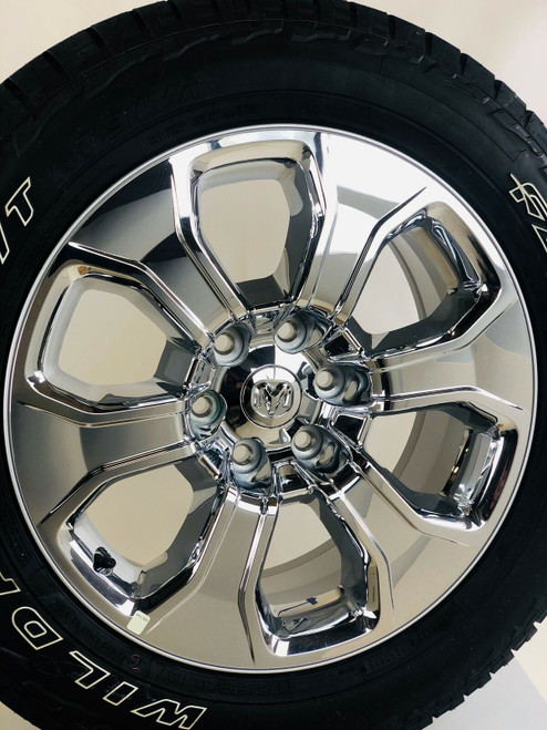 "Set of Four New Takeoff Dodge Ram 20"" Chrome Wheels With Falken Wildpeak AT Tires"