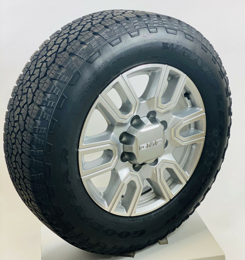 "New 2020 Takeoff 20"" GMC Sierra AT4 2500 3500 Painted Silver Wheels With Goodyear LT275/65R20 A/T Tires"
