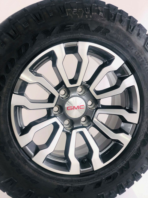 "New Takeoff 2020 GMC Silverado 18"" Wheels Goodyear Wrangler Duratrac AT Tires"