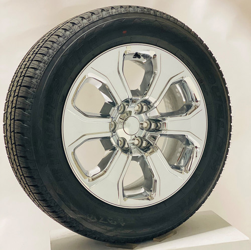 "Set of Four New Takeoff 20"" Chrome Deep Dish Wheels With Bridgestone Dueler Alenza 275/55R20 Tires Fits GM Trucks And SUV's"
