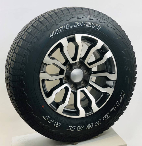 """Black and Machine 18"""" AT4 Style Wheels with Falken AT Tires for GMC Sierra, Yukon, Denali - New Set of 4"""