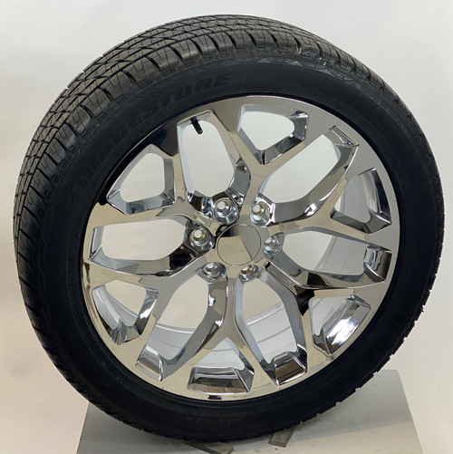 "Chrome 22"" Snowflake Wheels with Bridgestone Tires for 2019 and newer Dodge Ram 6 Lug 1500"