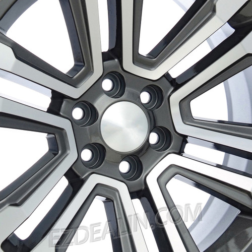 "Gunmetal and Machine 22"" Raised Split Spoke Wheels for Dodge Ram 6 Lug 1500 Truck"