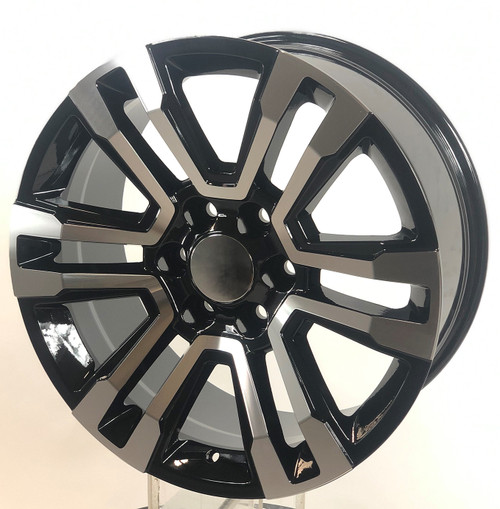 "Black and Machine 22"" Denali Style Split Spoke Wheels with Goodyear Tires for Chevy Silverado, Tahoe, Suburban"