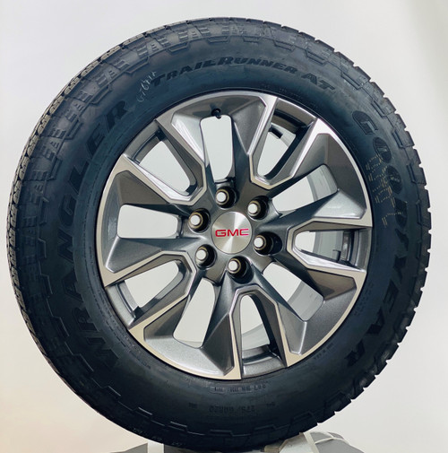 """New Takeoff 20"""" GMC Gunmetal and Machine Wheels With Goodyear Wrangler A/T 275/60R20 Tire"""