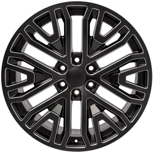 """Black with Milled Edge 22"""" Six Split Spoke Wheels for GMC Sierra, Yukon, Denali"""