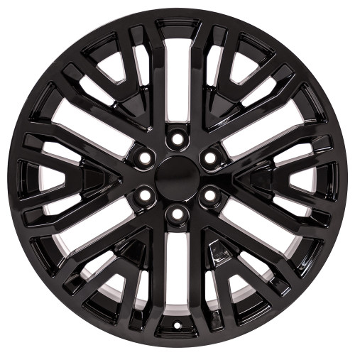 "Gloss Black 22"" Six Split Spoke Wheels for Chevy Silverado, Tahoe, Suburban"