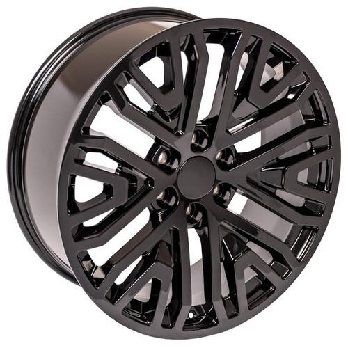 """Gloss Black 22"""" Six Split Spoke Wheels for GMC Sierra, Yukon, Denali"""