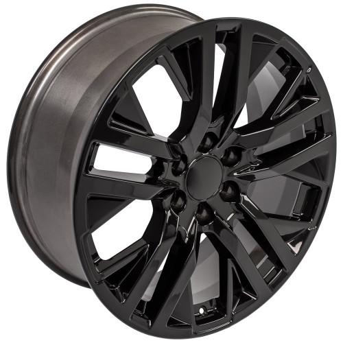 "Gloss Black 22"" Next Gen Sierra Wheels for Chevy Silverado, Tahoe, Suburban - New Set of 4"