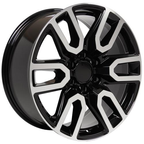 "Black and Machine 20"" AT4 Style Split Spoke Wheels for Chevy Silverado, Tahoe, Suburban - New Set of 4"