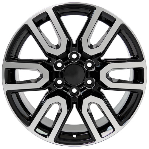 "Black and Machine 20"" AT4 Style Split Spoke Wheels for GMC Sierra, Yukon, Denali - New Set of 4"