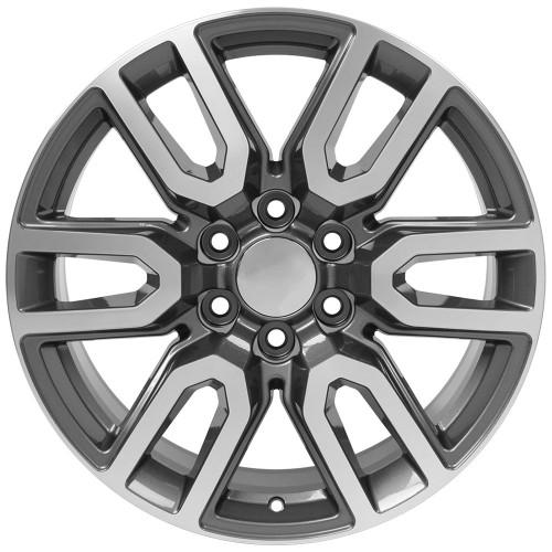 "Gunmetal and Machine 20"" AT4 Style Split Spoke Wheels for Chevy Silverado, Tahoe, Suburban - New Set of 4"