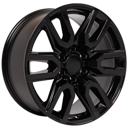 "Gloss Black 20"" AT4 Style Split Spoke Wheels for Chevy Silverado, Tahoe, Suburban - New Set of 4"